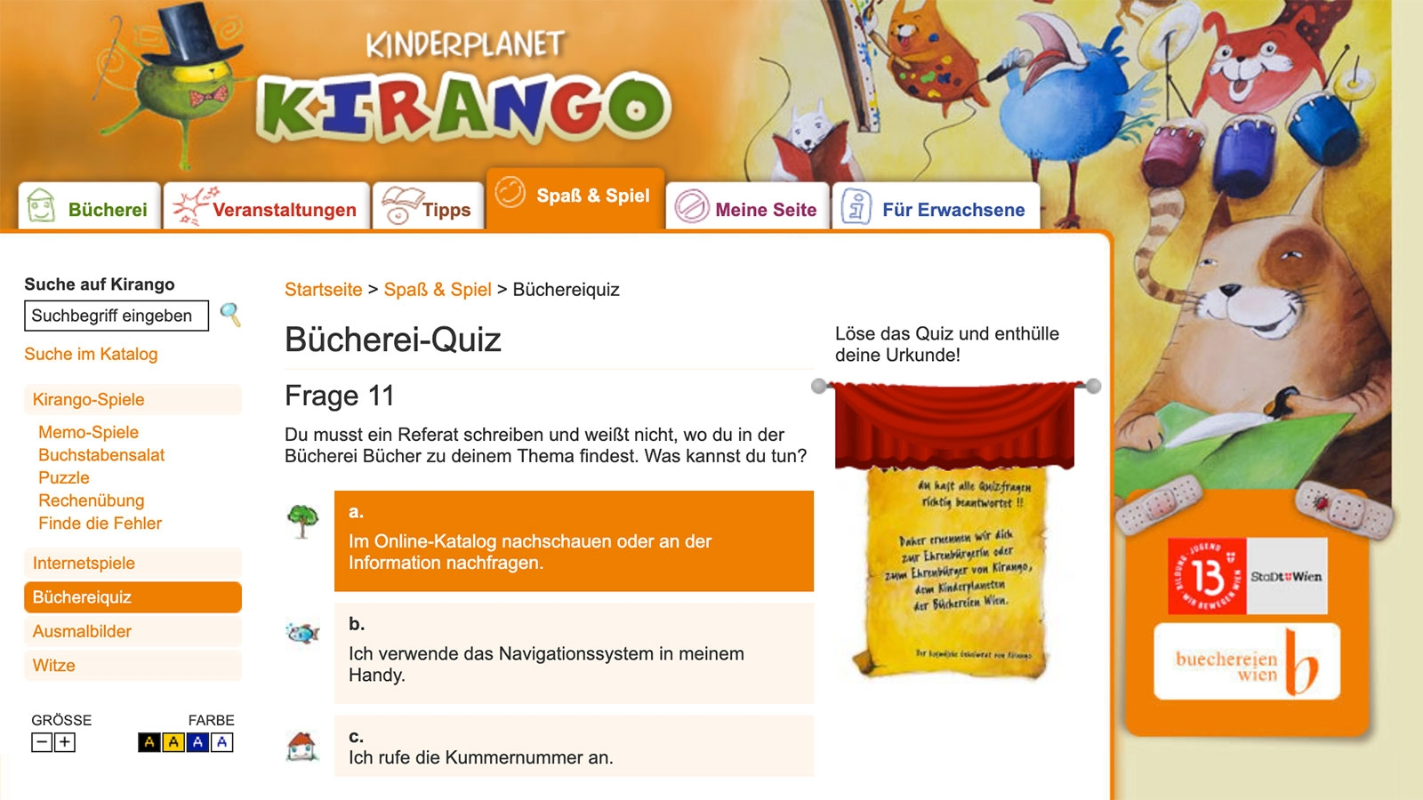Kirango Kinderplanet | kirango.at | 2009 (Screen Only Quiz 03) © echonet communication